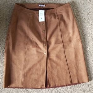 Just Fab Faux Suede Tan Midi Skirt 1X